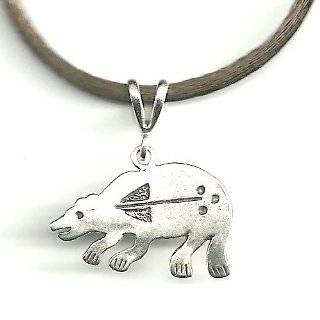 "Gift Boxed Bear Pendant with 18"" Brown Satin Cord Sterling Silver Animal Jewelry Set"