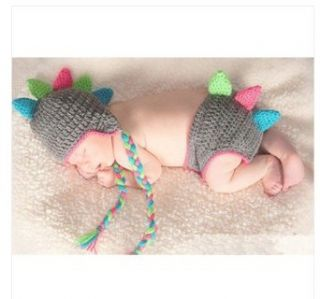 Baby Crochet Knitted Costume Newborn Baby Rainbow Dragon Horn Tassel Baby Photography Prop Crochet Hats Baby Animal Hat Cap Clothing