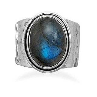 925 Sterling Silver Oval Labradorite Ring   Size 6 9: West Coast Jewelry: Jewelry