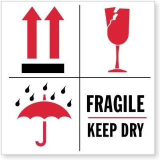 """Fragile Keep Dry (with Broken Glass, Shower On Umbrella, Paper Labels, 500 Labels / Roll, 4"""" x 4""""  Shipping Labels"""
