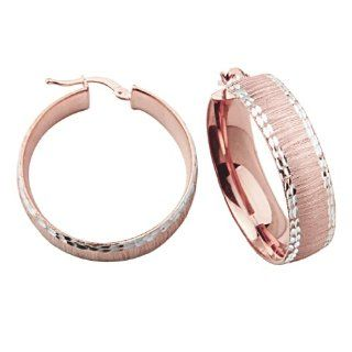 """.925 Sterling Silver 8mm Rose Gold Rhodium Plated 30mm Hoop Earrings (1.2"""" or 30mm Diameter): Reeve and Knight: Jewelry"""