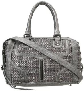 Rebecca Minkoff Mab Mini Bombe Woven H339F84C Handbag,Silver,One Size: Clothing