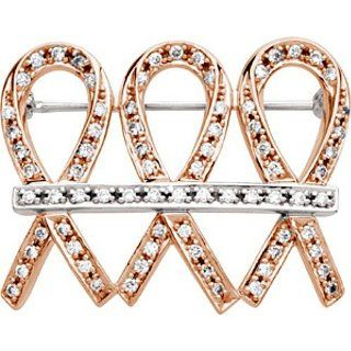 "14K Rose and White Gold Diamond ""Me and My Two Friends"" Breast Cancer Awareness Brooch    LIFETIME WARRANTY: Jewelry"