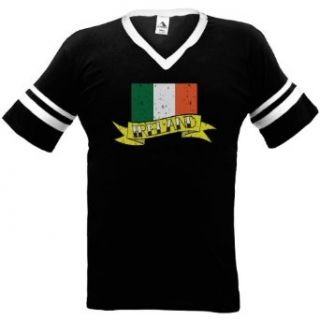 Ireland Flag and Banner Tattoo Style Design Mens Ringer T shirt, Irish National Pride Mens V Neck Shirt: Clothing