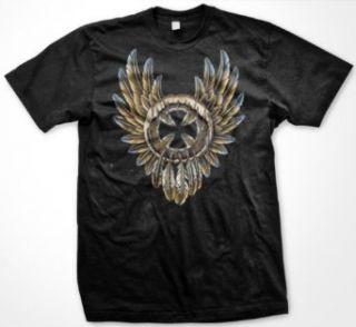 Iron Cross Dream Catcher Mens Biker T shirt, Eagle Feathers Maltese Cross Mens Shirt Clothing