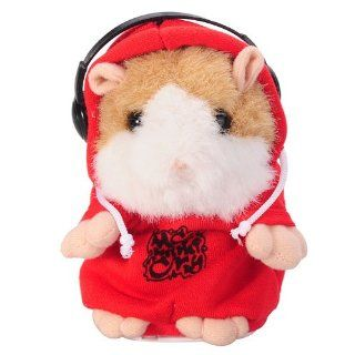 Marvelous DJ Rapper Mimicry Pet Early Learning Wear Clothes Hamster Talking Toy for Kids Repeat Talking Hamster Toy Red: Toys & Games