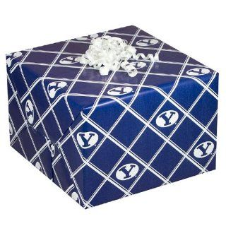 NCAA Brigham Young Cougars Navy Blue Logo Gift Wrap Paper   Ornament Hanging Stands