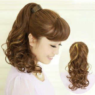 X&Y ANGEL New Fashion Two Tone Curly Highlights Snap Hook Ponytail Hair Extension Hairpiece H012 (black to burgundy): Beauty
