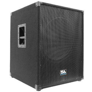 """Seismic Audio   Aftershock 18   Powered PA 18"""" Subwoofer Speaker Cabinet Musical Instruments"""