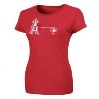 MLB Los Angeles Angels Authentic Collection Change Up Crew Neck Women's T Shirt Red, Medium Sports & Outdoors