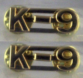 """K 9 K9 Canine Unit Police Dog Officer Uniform Collar Pins Brass Insignia Gold Finish 3/8"""" Pair (2 Included)  Other Products"""