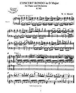 Mozart Piano Concert Rondo in D Major for Piano and Orchestra, K. 382: Instantly download and print sheet music: Mozart: Books
