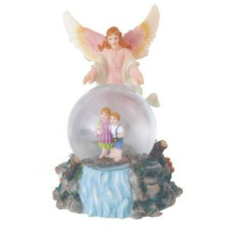 Guardian Angel Snow Globe   Poly Resin Figurine   Height 5 inches   Collectible Figurines