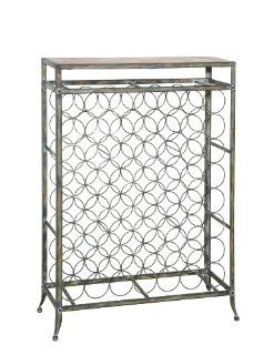 Powell Driftwood Metal and Wood Wine Rack   Wine Cabinet Furniture Iron