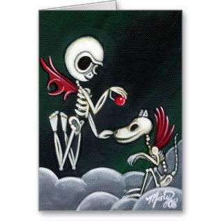 """Stay"" day of the dead skeleton dog art CARD"