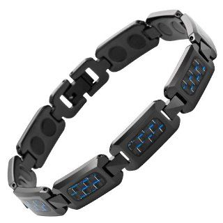 Willis Judd New Mens Black Polished Tungsten Magnetic Bracelet with Blue Carbon Fiber in Free Black Velvet Gift Box and Free Link Removal Tool: Jewelry