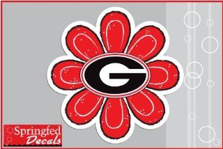 "Georgia Bulldogs G Logo RED FLOWER #2 Vinyl Decal 4"" UGA Car Truck Window Sticker: Everything Else"
