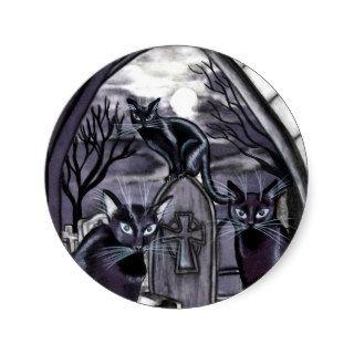 Black Cats Full Moon Graveyard Round Sticker