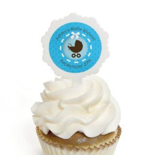 Boy Baby Carriage   12 Cupcake Picks & 24 Personalized Stickers   Baby Shower Cupcake Toppers Toys & Games