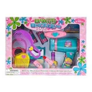BEAUTY BOUTIQUE HAIR SALON PLAYSET WITH BATTERY OPERATED HAIR DRYER includes mirror, combs, play makeup and hair dryer. Assorted colors and styles. Each window boxed: Toys & Games