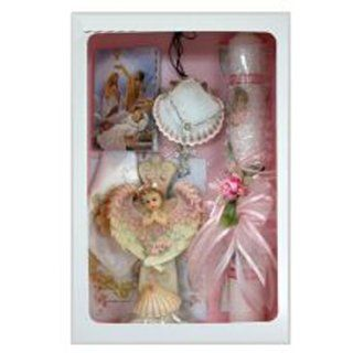 Girl's Baptism Gift Set in Spanish with Candle, Handkerchief, Rosary, Missal, Shell, and Keepsake (Conjunto de Bautizo para Nina con Vela, Panuelo, Rosario, Misal, Cascara y Recuerdo): Jewelry