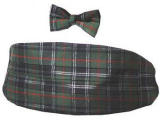 Green Plaid Christmas Cummerbund & Bow Tie Set Clothing