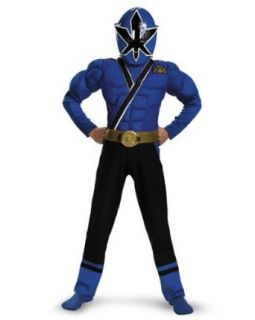 Boys Classic Muscle Blue Power Ranger Samurai Costume Size Large: Clothing