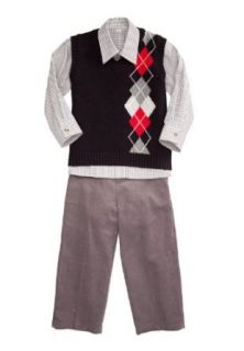 Good Lad Boys Infant Black Argile Sweater Vest 3 Piece Set (4) Clothing