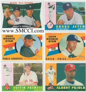 2009 Topps Heritage Baseball Complete Mint Basic 425 Card Set. Loaded with Stars and Rookies Including Derek Jeter, Alex Rodriguez, Ken Griffey Jr., Ryan Howard, Ichiro Suzuki, Daisuke Matsuzaka, Albert Pujols, David Wright, David Price, Pablo Sandoval, Ma