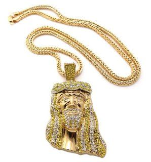 "Hot Very Trendy Gold/Yellow Rhinestone Iced Out Jesus Face Pendant w/4mm 36"" Franco Chain Necklace MP424G YLCL: Jewelry"