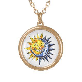 Cool cartoon tattoo symbol happy sun moon face necklace