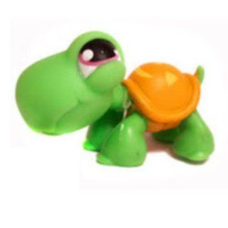 Turtle # 433 (Green with orange Jack 'O Lantern shell and pink eyes)   Littlest Pet Shop Replacement Figure Loose Retired LPS Collector Toy (Out Of Package/OOP)