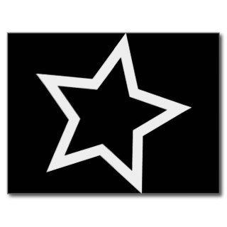 Black Star Bold White Outline Postcard