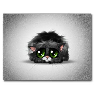 Sad and lonely little kitten with huge green eyes postcards