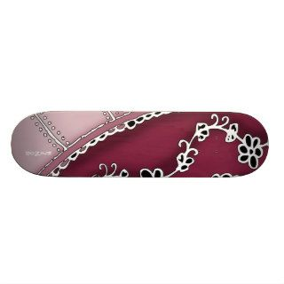 Girly Tribal Tattoo Flowers and Heart Vines Design Skate Board