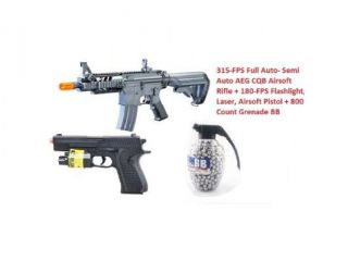 2011 315 FPS Airsoft Rifle M16/M4 Style 1:1 Double Eagle CQB 614 AEG + 180 FPS Flashlight, Laser, Airsoft Pistol + 800 Count Grenade BB