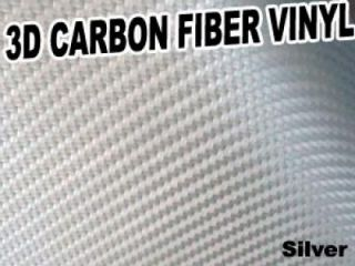 3D Texture Carbon Fiber Sticker Vinyl Flexible Decal Film Wrapping Sheet (Silver)