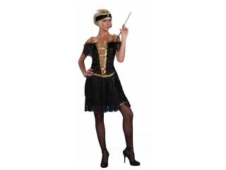 Golden Glamour Roaring 20's Flapper Black Dress Costume Adult Extra Small/Small