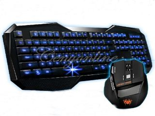 AULA Blue LED Backlight Multimedia USB Gaming Keyboard +2000 DPI Ergonomic Game Mouse Support OS Windows 98/2000/ME/XP 32bit Vista/Win7 32/64bit/Mac