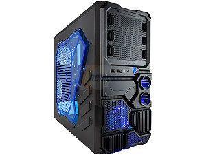 APEVIA X Sniper X SNIPER2 BL Black Steel ATX Mid Tower Computer Case w/ Side Window Blue