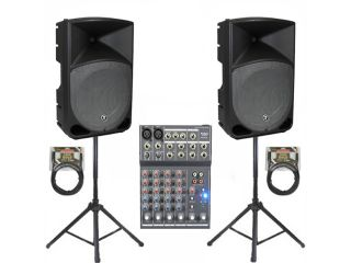 Mackie TH 15A Active DJ Powered THUMP Speakers, Mixer, Stands and Cables Set TH 15ASET3