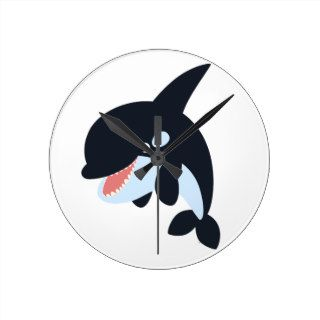 Cute Merry Cartoon Killer Whale Wall Clock