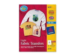 Avery Personal Creations Inkjet Light T Shirt Iron On Transfers, White, 12 Sheets/Pack