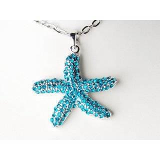 Aqua Sea Blue Crystal Rhinestone Starfish Ocean Sand Summer Pendant